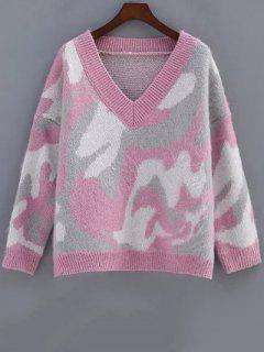 Cozy Camo Jacquard Sweater - Rose