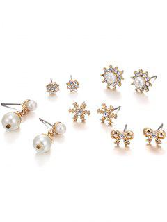 5PCS Different Shape Rhinestone Earrings Set - Golden
