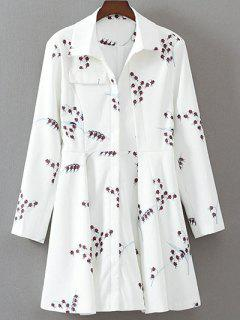 Impresa Vestido De Manga Larga Del Patinador - Blanco S