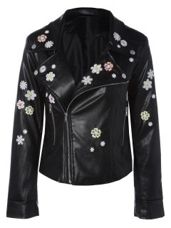 Floral Brodé Col à Revers Faux Leather Jacket - Noir S