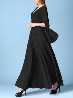 V Neck Chiffon Maxi Surplice Dress - Black S