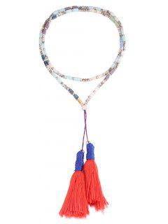 Two Tassel Beaded Long Sweater Chain - Silver And Orange