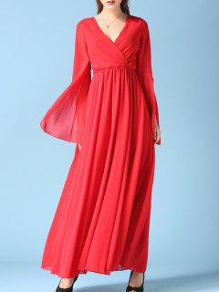 V Neck Chiffon Maxi Surplice Dress - Red S