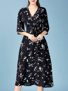 V Neck Floral Chiffon Wrap Dress - Black S