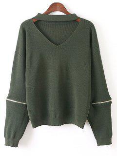 Zipped Oversized Choker Sweater - Green