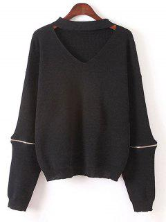 Zipped Oversized Choker Sweater - Black