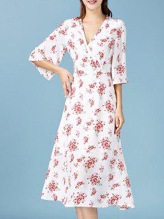 V Neck Floral Chiffon Surplice Dress - White S