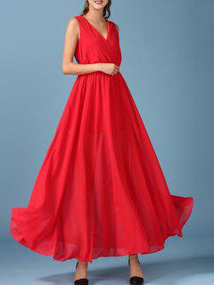 Chiffon V Neck Surplice Maxi Dress - Red L