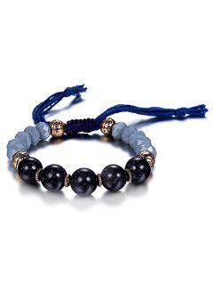Rope Bead Adjustable Bracelet - Blue