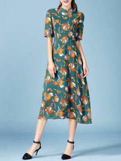 Printed Chiffon Midi Dress - Blackish Green S