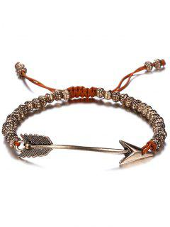 Retro Woven Rope Arrow Bracelet - Coffee And Golden