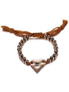 Retro Heart Adjustable Rope Bracelet - Coffee And Golden