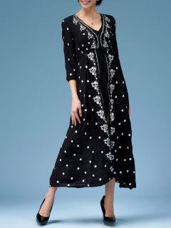 Embroidered V Neck Maxi Dress - Black S