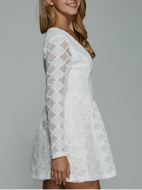 hot Long Sleeves Lace Mini Dress - WHITE XL Mobile