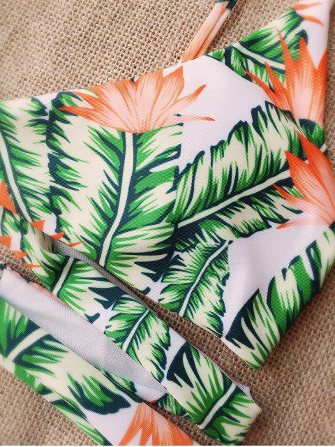 shops Leaf Print Strappy Bikini - WHITE AND GREEN L Mobile