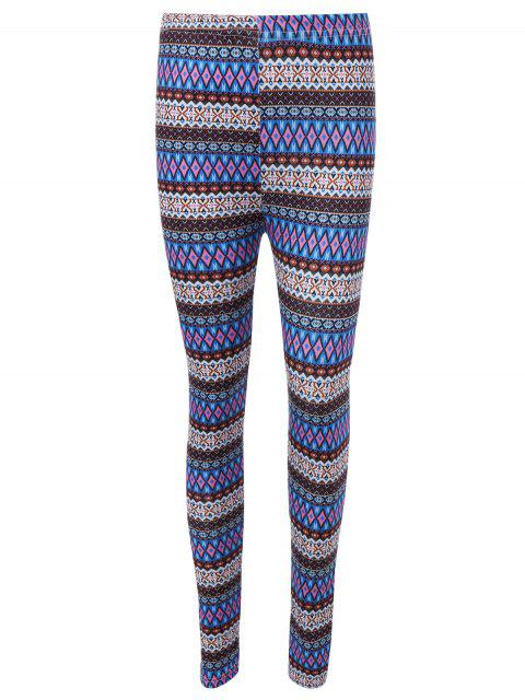 lady Ethnic Printed High Waist Leggings - BLUE ONE SIZE Mobile