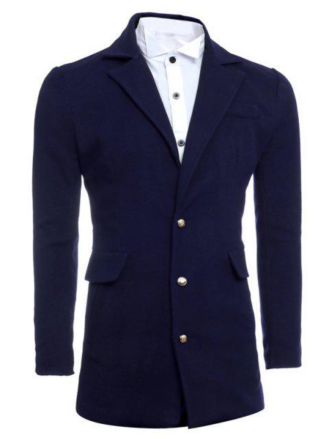Simple Manteau Breasted Lapel Minceur De laine - Bleu Cadette L Mobile
