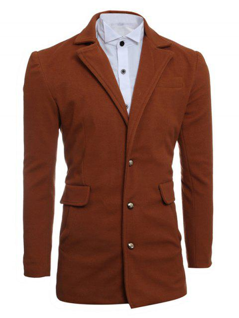 Simple Manteau Breasted Lapel Minceur De laine - Camel M Mobile