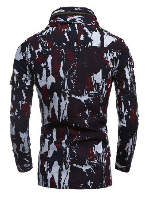 women Multi-Pocket Zip Up Camouflage Coat - RED 2XL Mobile