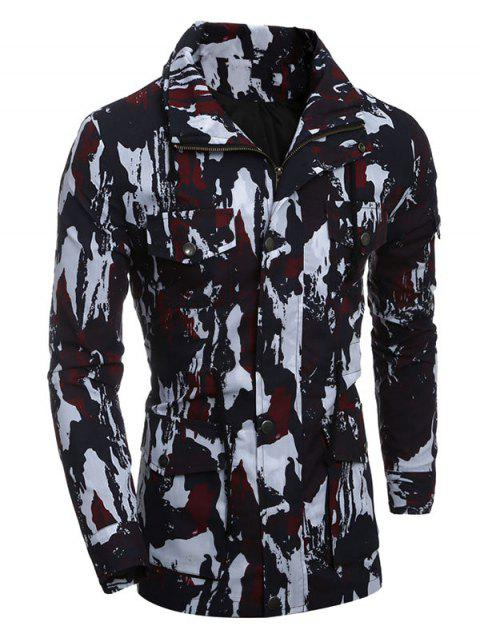 Multi-Pocket Zip Up Camouflage Manteau - Rouge 2XL Mobile