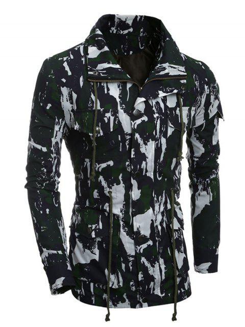 Multi-Pocket Zip Up Camouflage Manteau - Vert XL Mobile
