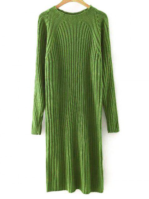 lady Solid Color Round Neck Sweater Dress - BLACKISH GREEN L Mobile