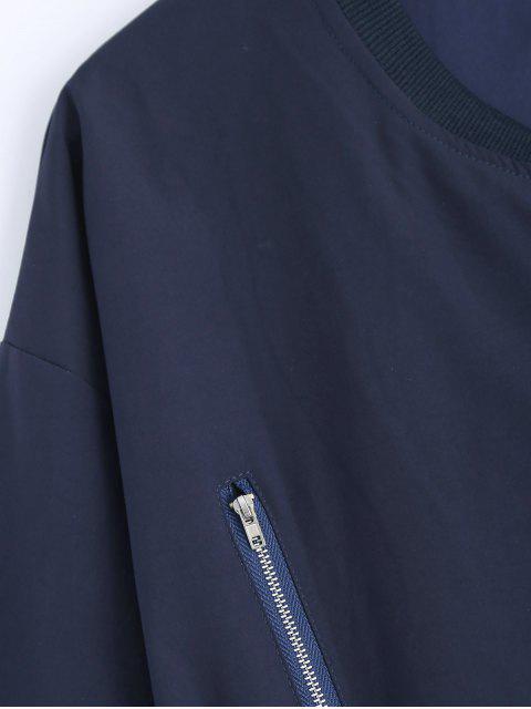 Support Neck Plus Size Coat Drawstring - Bleu Cadette 2XL Mobile