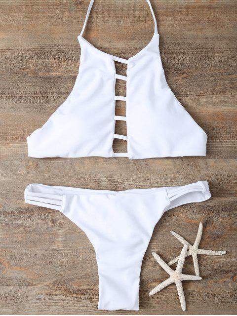 fashion Halter Cutout Padded Bikini Set - WHITE M Mobile