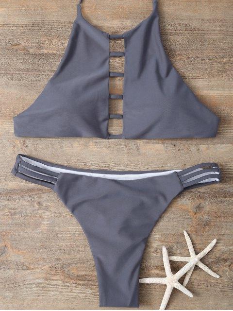 ladies Halter Cutout Padded Bikini Set - GRAY S Mobile