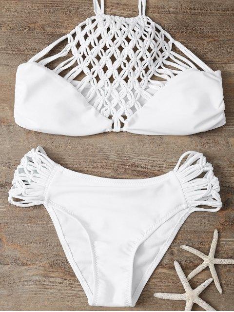 best Hollow Out Halter Bikini - WHITE M Mobile