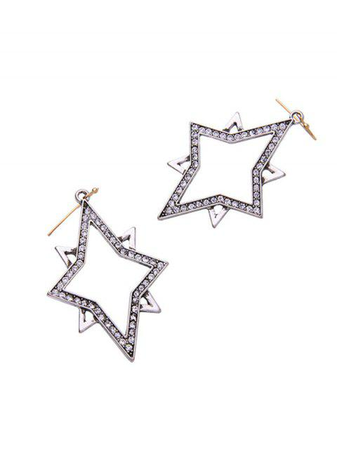 womens Star Rhinestone Drop Earrings - SILVER  Mobile