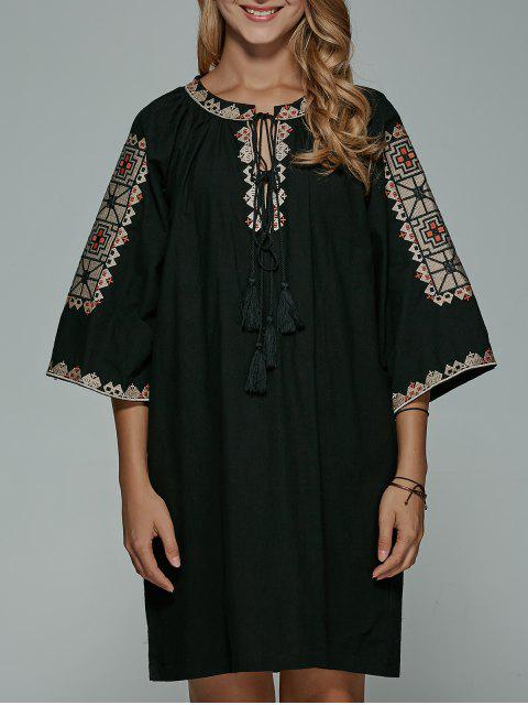 best Embroidered Lace Up Black Shift Dress - BLACK ONE SIZE Mobile