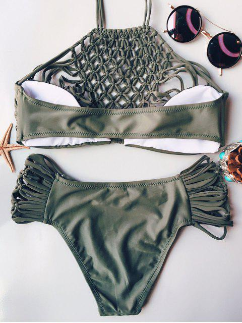 outfit Hollow Out Halter Bikini - ARMY GREEN S Mobile