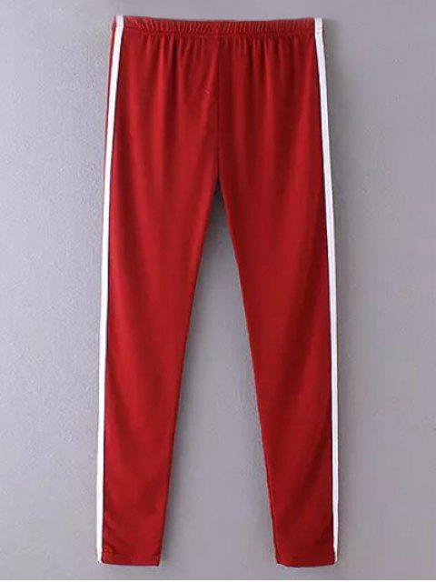 Side Stripe Skinny Pantalons simple - Rouge vineux  TAILLE MOYENNE Mobile