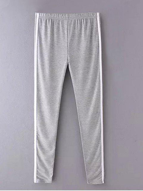 shop Side Stripe Skinny Casual Pants - GRAY ONE SIZE Mobile