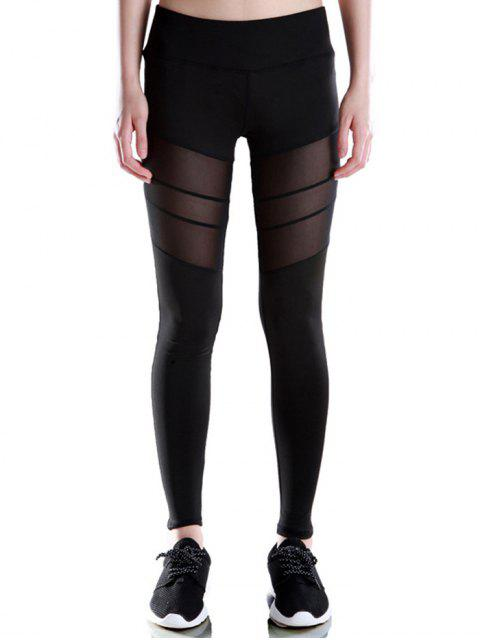 affordable Voile Patched Stretchy Sport Leggings - BLACK L Mobile