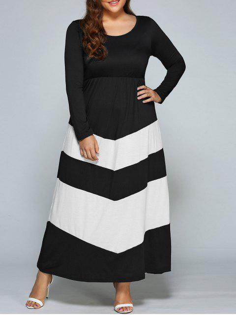 latest Zigzag Long Sleeve Plus Size Maxi Dress - WHITE AND BLACK 2XL Mobile
