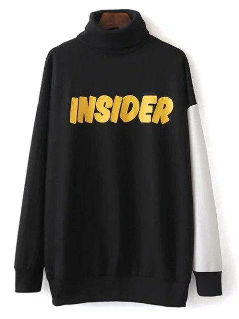 chic Turtle Neck Oversized Graphic Sweatshirt - BLACK S Mobile