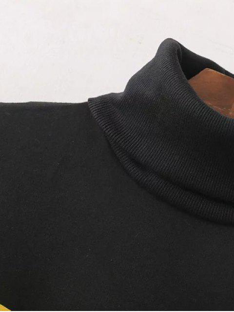 chic Turtle Neck Oversized Graphic Sweatshirt - BLACK S Mobile