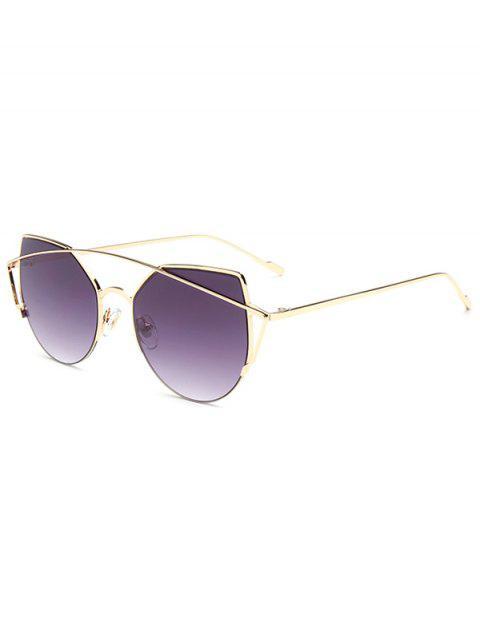 fashion Crossbar Irregular Cat Eye Sunglasses - DEEP PURPLE  Mobile