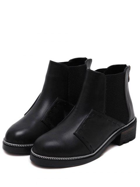 shops Elastic Band Stitching Chain Ankle Boots - BLACK 37 Mobile