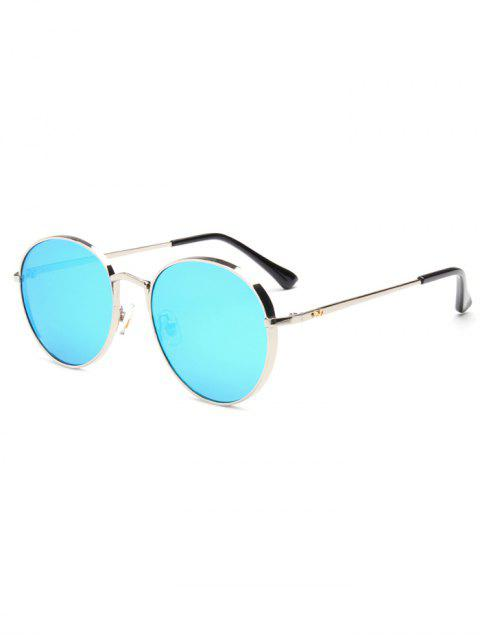 outfit Chunky Metal Oval Mirrored Sunglasses - ICE BLUE  Mobile