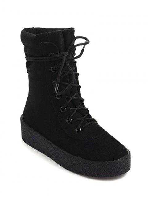 fancy Platform Lace-Up Flock Short Boots - BLACK 39 Mobile