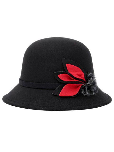 buy Fuzzy Ball Leaf Fedora Hat - BLACK  Mobile
