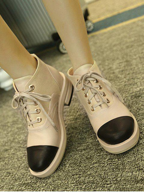 womens Two-Tone Tie Up Splicing Ankle Boots - APRICOT 38 Mobile