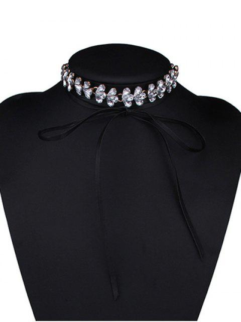 outfits Rhinestone Flower Choker - WHITE  Mobile