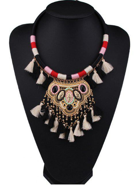 trendy Beaded Colorful Fringe Necklace - BLACK  Mobile