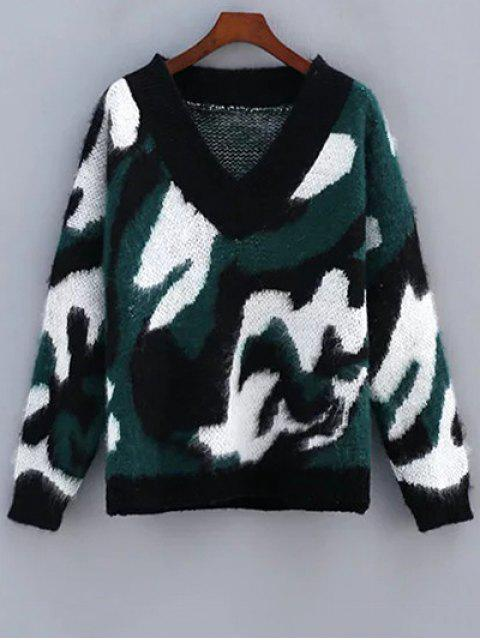 Cozy Camo Jacquard Sweater - Vert Taille Unique Mobile
