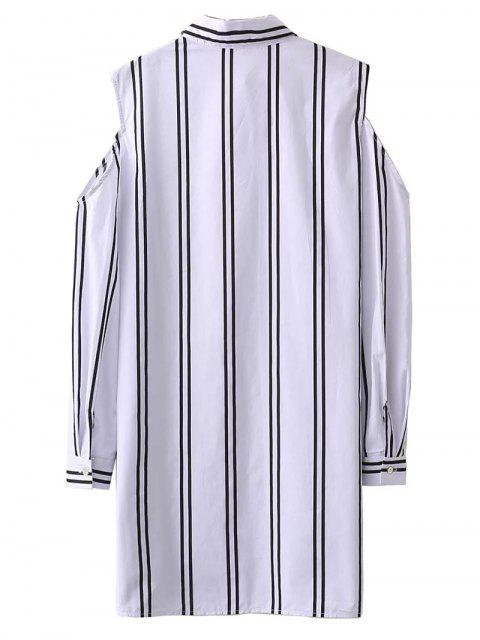 Objet ou sujet détouré épaule rayé Longue chemise - Blanc S Mobile