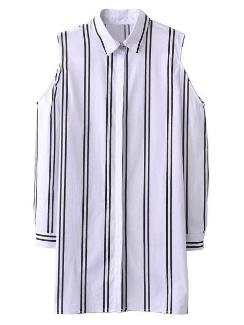 outfits Striped Cut Out Shoulder Long Shirt - WHITE S Mobile
